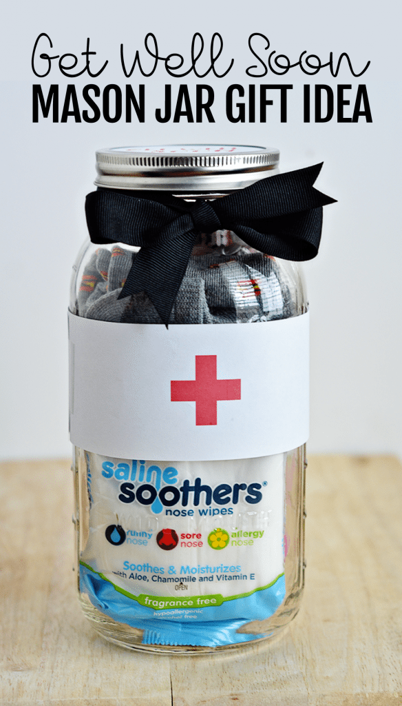 Perfect for the cold and flu season that is upon us - make this cute Get Well Soon Mason Jar Gift from thirtyhandmadedays.com