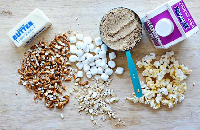Ingredients for Salted Caramel Popcorn Bars