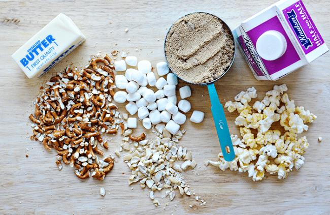 Ingredients for Salted Caramel Popcorn Bars