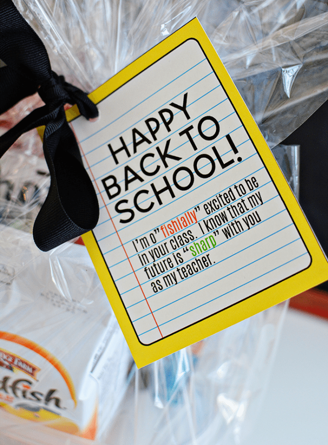Back to School Teacher Gift Idea- free printable included to make your new teacher feel special! from www.thirtyhandmadedays.com