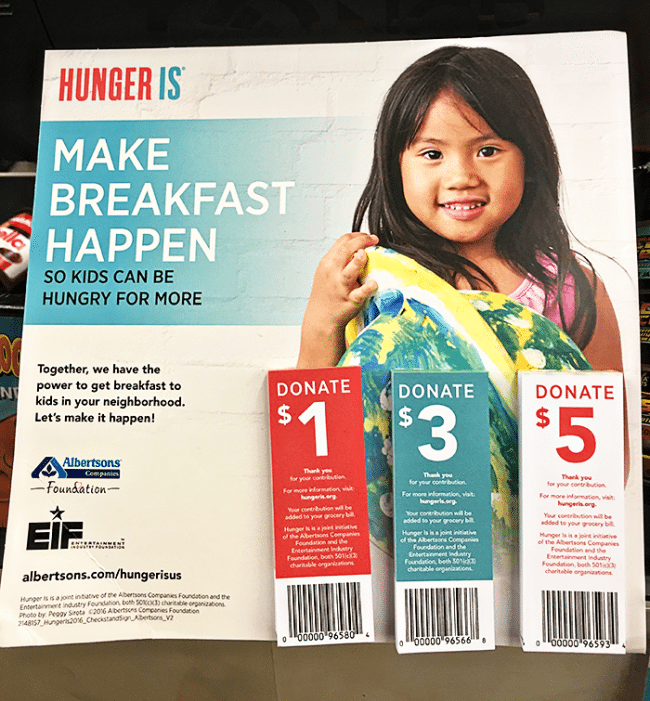 "Albertsons Companies will be having a national ""Hunger Is"" campaign (www.hungeris.org) from September 1st through September 30th, 2016 to aid childhood hunger efforts in America. Participate at your local stores!"
