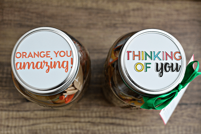 Rainbow Mason Jar Gift Idea toppers - the perfect thing to give to someone who is doing a good job. Free printables included! From thirtyhandmadedays.com