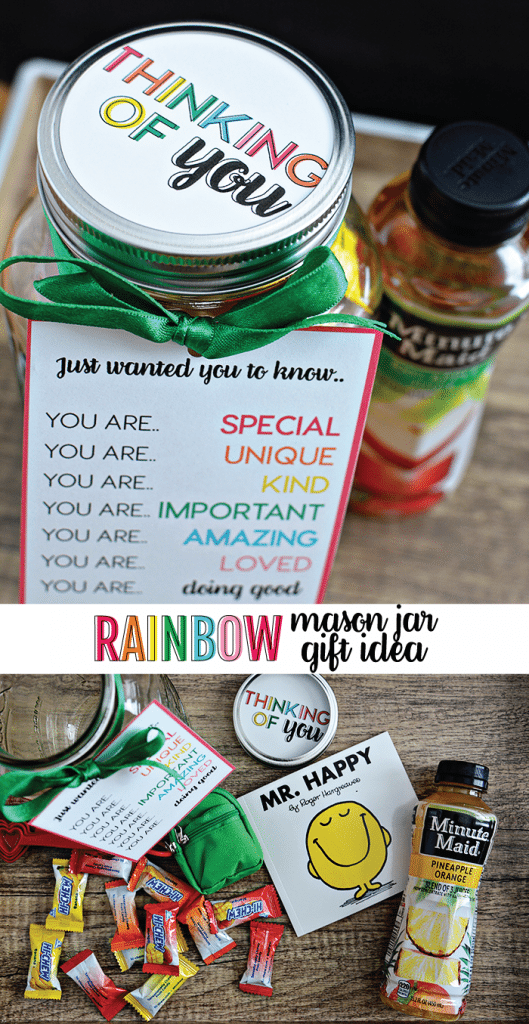 Rainbow Mason Jar Gift Idea - the perfect thing to give to someone who is doing a good job. Free printables included! From www.thirtyhandmadedays.com