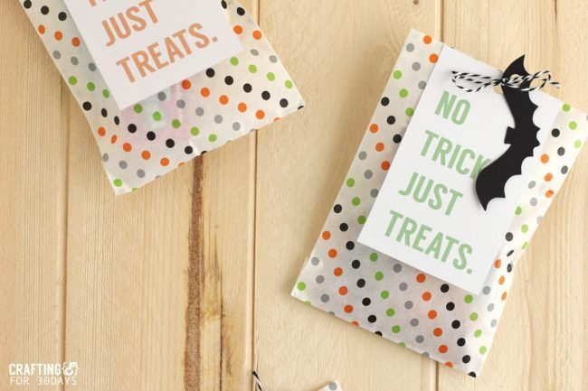 Brightly colored and cute Printable Halloween Treat Tag - you could fill these up with all kinds of goodies for the holiday! From CraftingE for thirtyhandmadedays.com