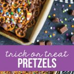 Trick or Treat Candy Pretzels - fun Halloween treats! Use up that leftover candy too.