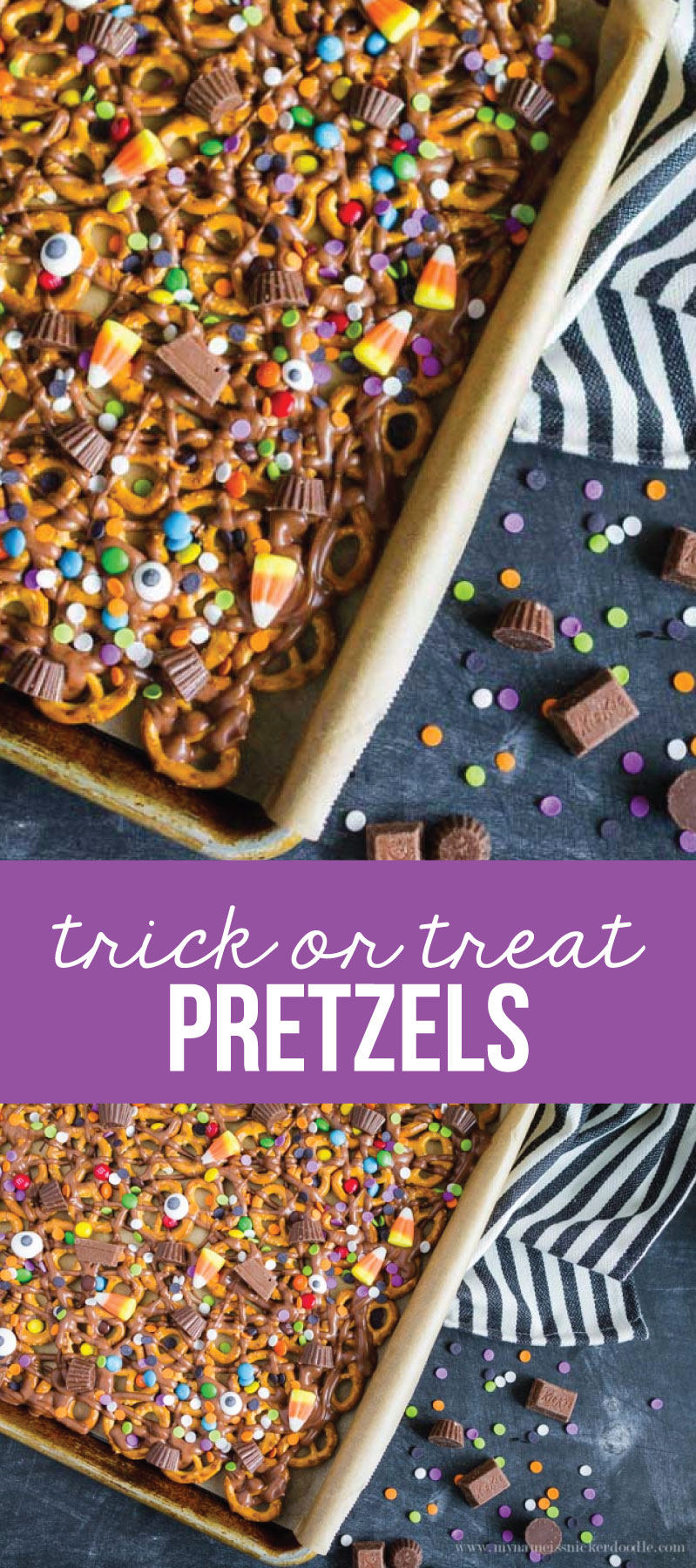Trick or Treat Candy Pretzels - fun Halloween treats! Use up that leftover candy too.  via www.thirtyhandmadedays.com
