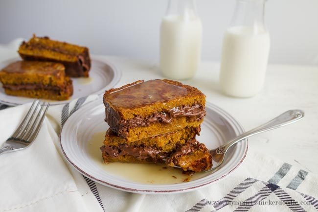 Nutella Stuffed Pumpkin French Toast - an amazing spin on an old classic. You definitely need to try this recipe this fall! via www.thirtyhandmadedays.com from My Name is Snickerdoodle