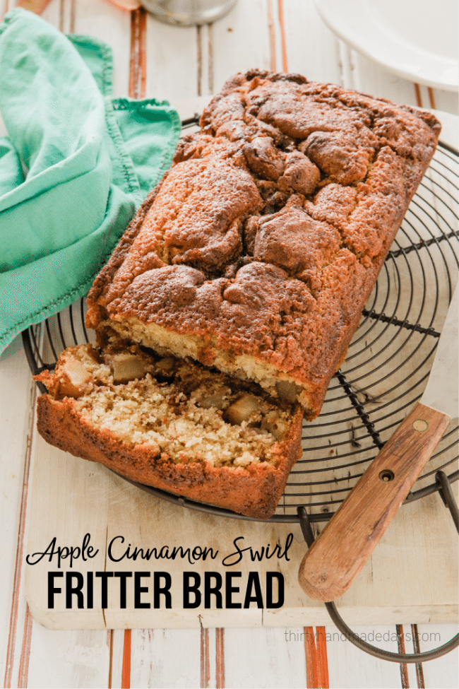 Food and Drink: Apple Swirl Cinnamon Fritter Quick Bread - an amazing quick bread for the fall. You will love this one from thirtyhandmadedays.com