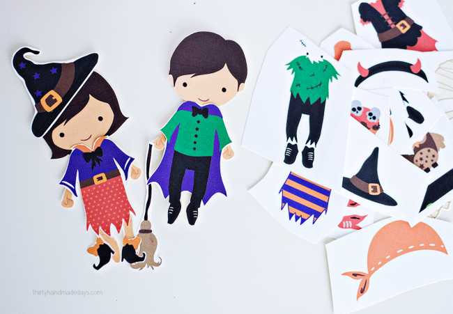 Printable Halloween Dress Up Dolls- these are adorable to use for the holidays! from thirtyhandmadedays.com