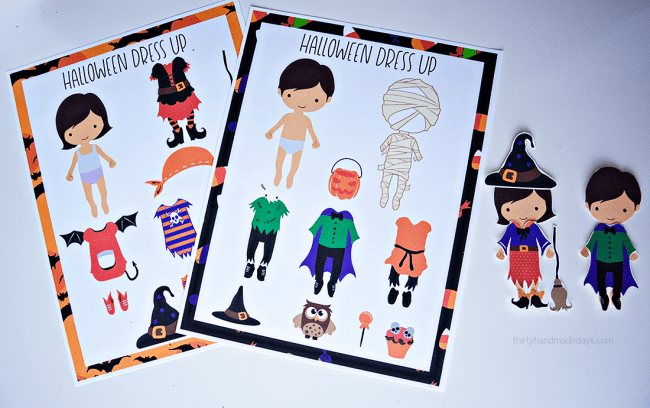 Printable Halloween Dress Up Dolls- these are adorable to use for the holidays! via www.thirtyhandmadedays.com