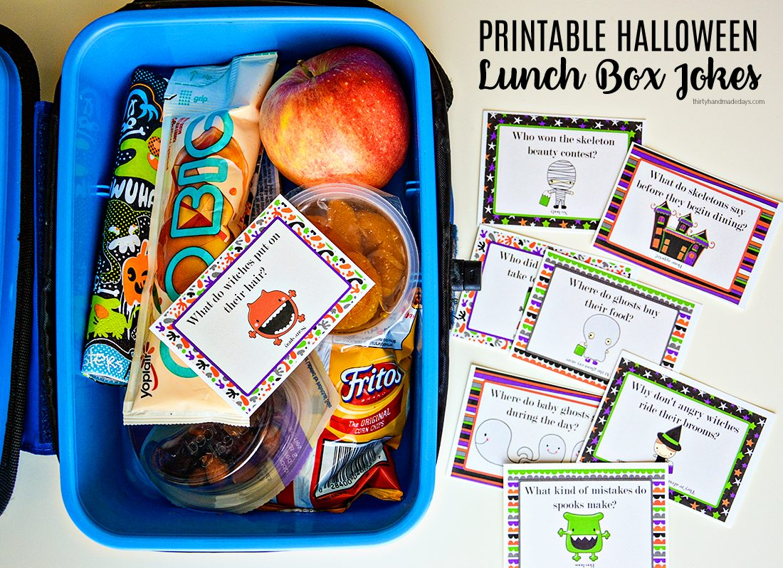 Make your kids day with these adorable Printable Halloween Lunchbox Notes! www.thirtyhandmadedays.com