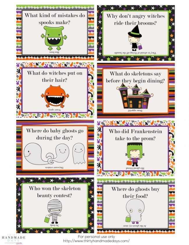 Make your kids day with these adorable Printable Halloween Lunchbox Notes! from www.thirtyhandmadedays.com