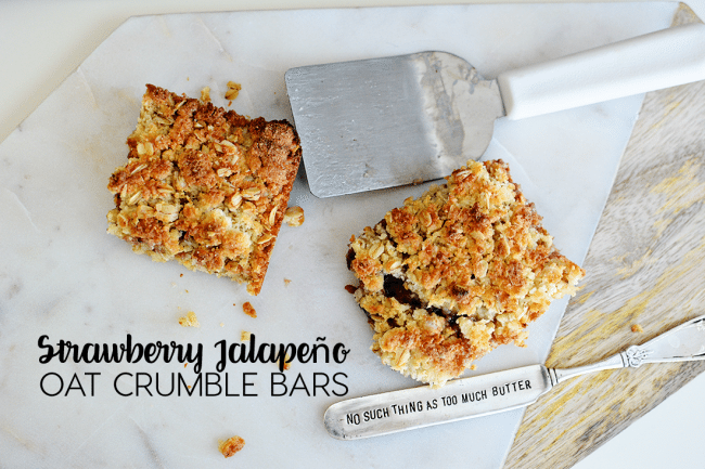 Strawberry Jalapeno Oat Crumble Bars - an amazing recipe from Iceland using Smuckers Fruit & Honey Jam from www.thirtyhandmadedays.com