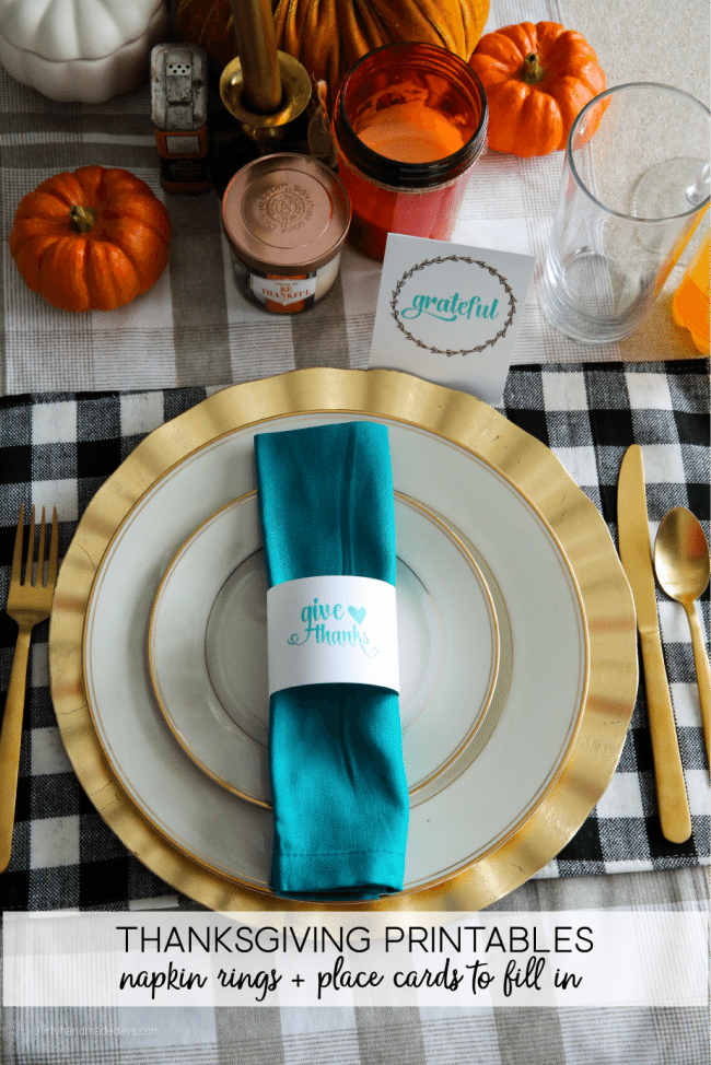 Holidays: Thanksgiving Printables to use for the special day. Download, print and fill in! from www.thirtyhandmadedays.com