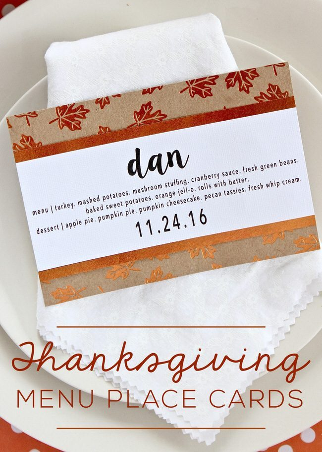 Dress up your table and help guests find their seat with these simple DIY Thanksgiving Menu Place Cards