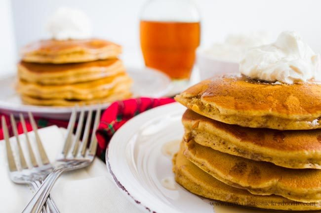 Perfect breakfast recipe for gingerbread pancakes. Top with whipped cream and syrup!