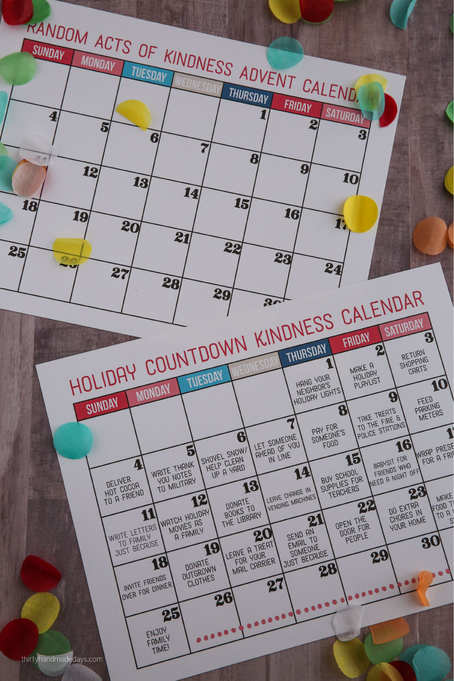 Holidays: Kindness Countdown Calendar - make the holidays really special this year by getting your family involved in random acts of kindness. Part of the the #doingood campaign with Minute Maid from www.thirtyhandmadedays.com