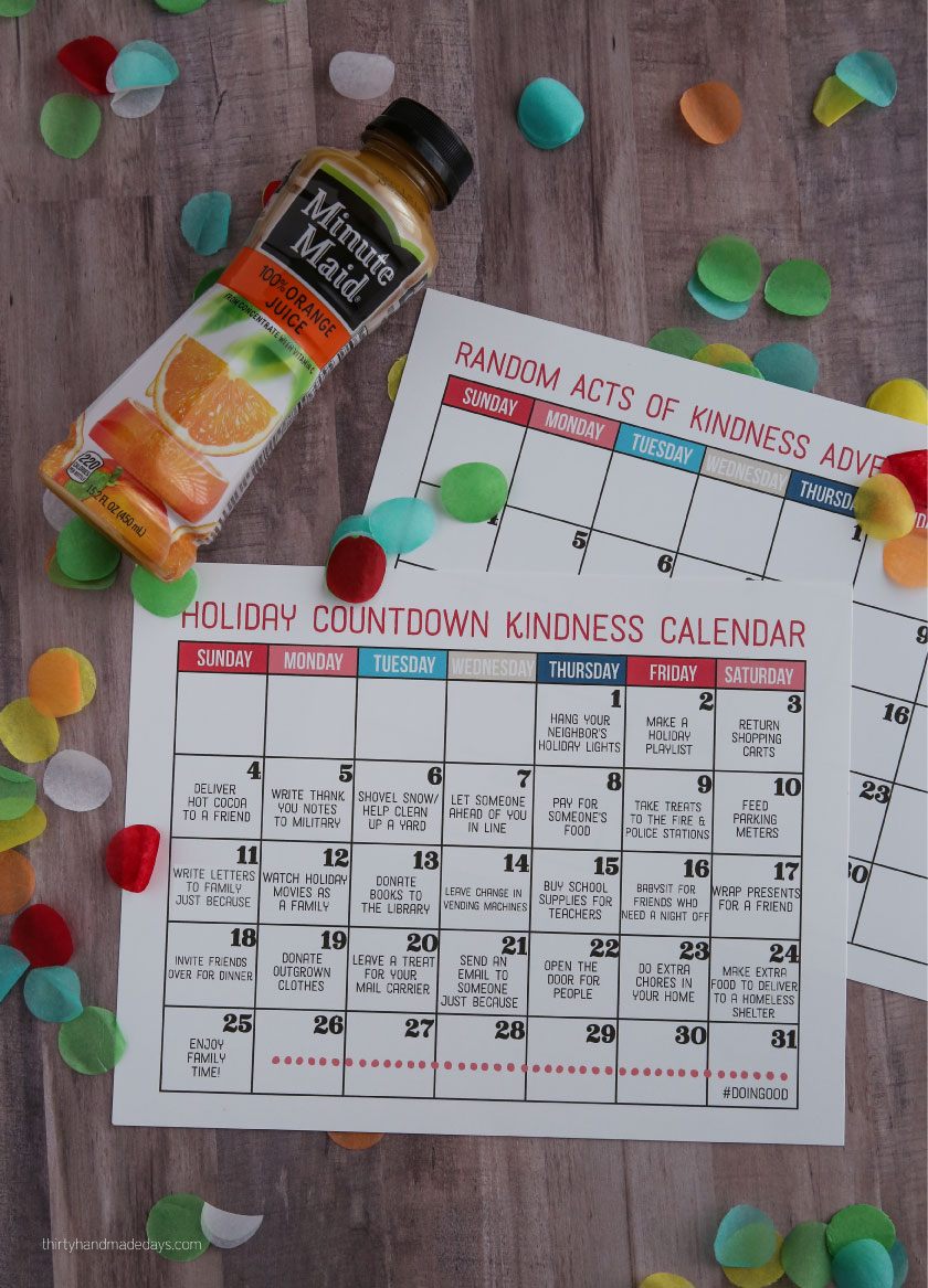 Kindness Christmas Countdown Calendar - make the holidays really special this year by getting your family involved in random acts of kindness. Part of the the #doingood campaign with Minute Maid from thirtyhandmadedays.com