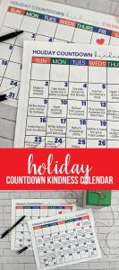Christmas Countdown Kindness Calendar - spend this month doing random acts of kindness!