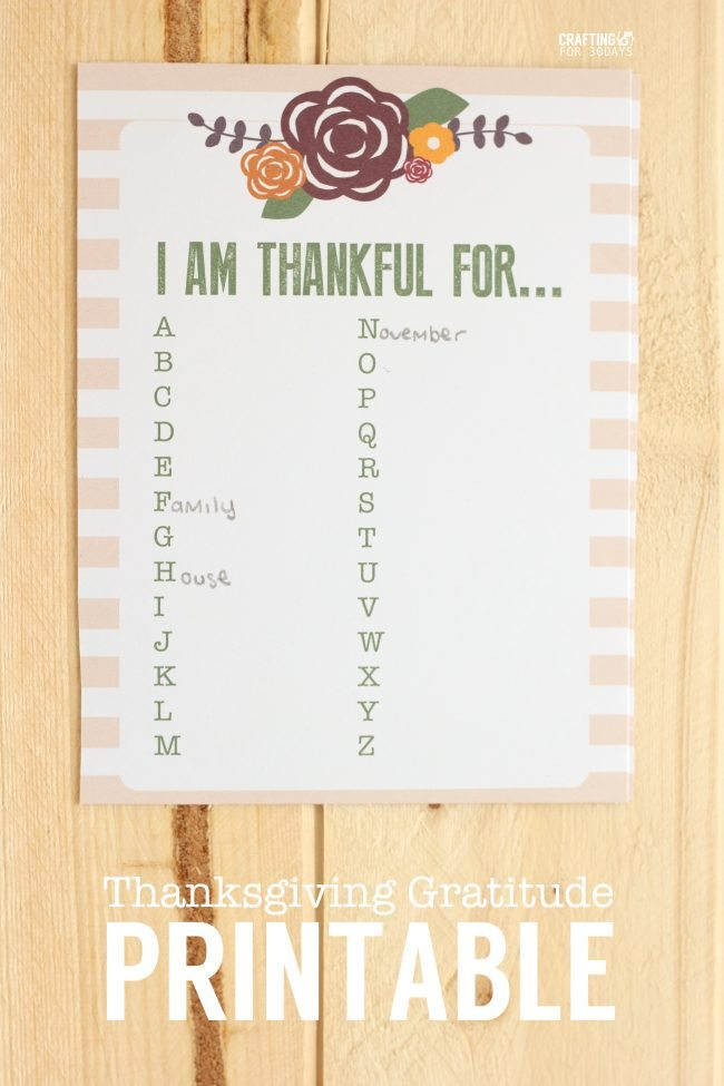 Thanksgiving Gratitude Printable - print this out and fill it in for the holiday!