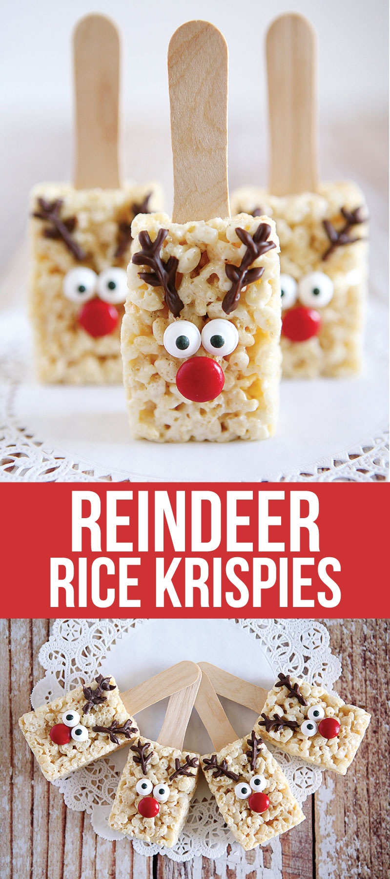 Holidays: Reindeer Rice Krispies - the cutest treat you will see all Christmas season. Make this recipe and deliver them to family and friends!