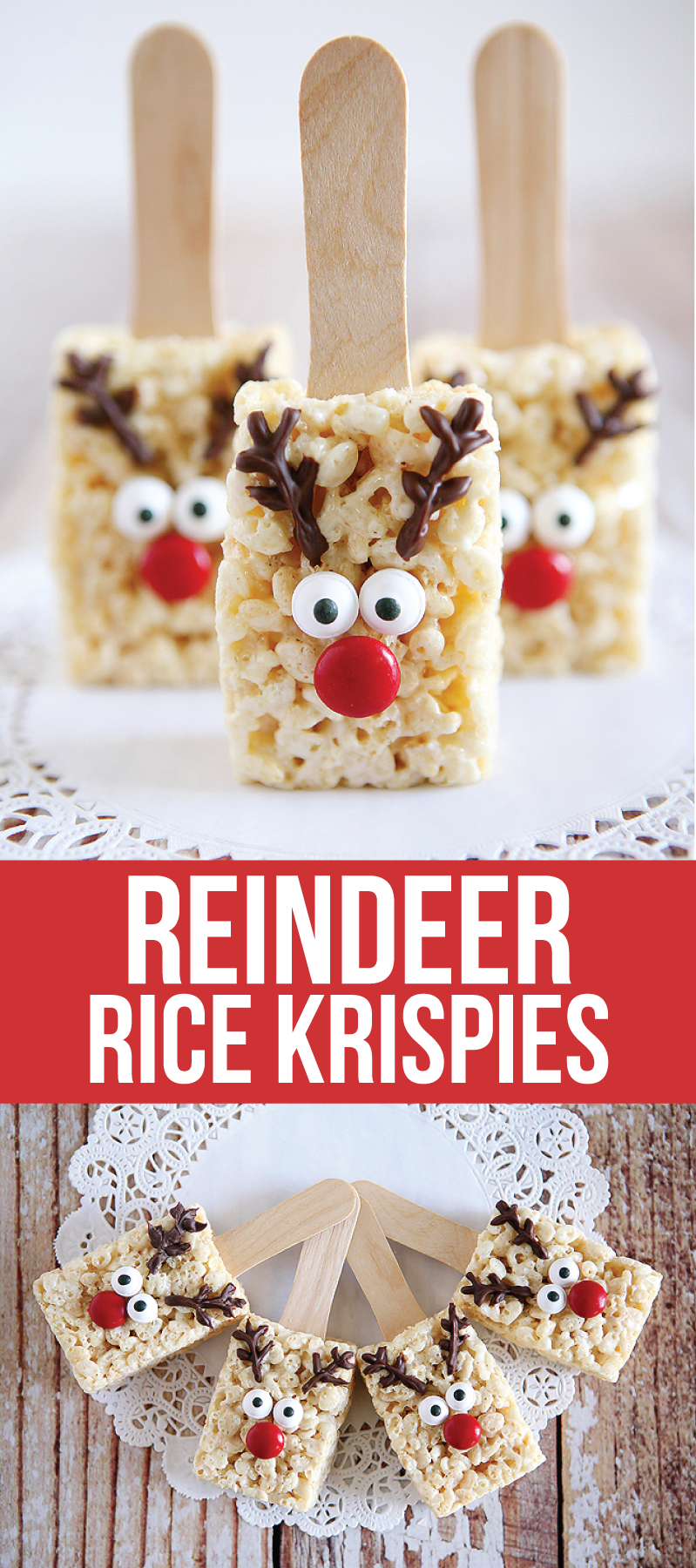 Reindeer Rice Krispie Treats - these are the sweetest for the holidays! So cute and easy to make.