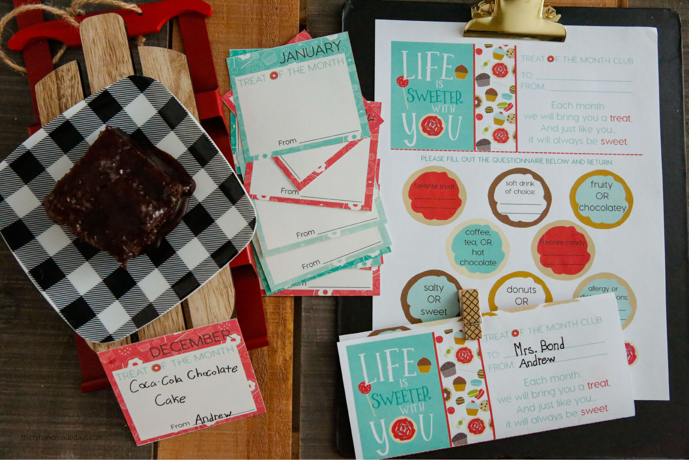 Treat of the Month Club - a sweet gift idea to celebrate someone throughout the year. Perfect for the holidays and Christmas! via www.thirtyhandmadedays.com