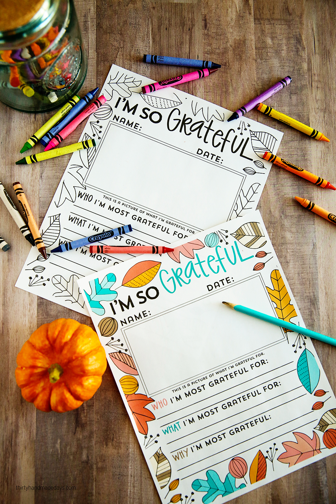 """Holidays: """"I'm so grateful for ......"""" Thanksgiving printable fill in. You can use this for kids or adults via www.thirtyhandmadedays.com"""