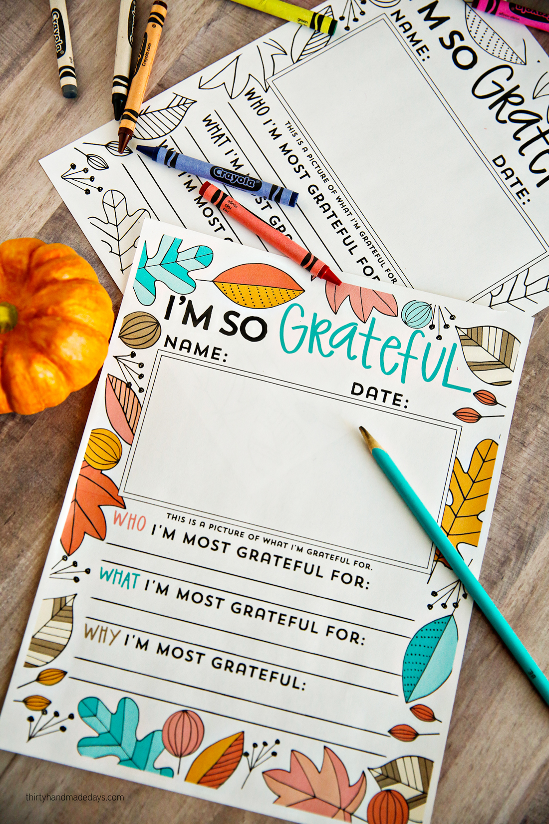 "Holidays: ""I'm so grateful for ......"" Thanksgiving coloring pages to fill in. You can use this for kids or adults via thirtyhandmadedays.com"