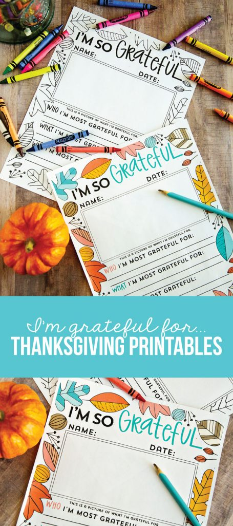 I'm so grateful for ... Thanksgiving Printables from www.thirtyhandmadedays.com