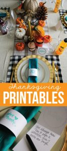Holidays: Thanksgiving Printables to use for the special day. Download, print and fill in! via thirtyhandmadedays.com