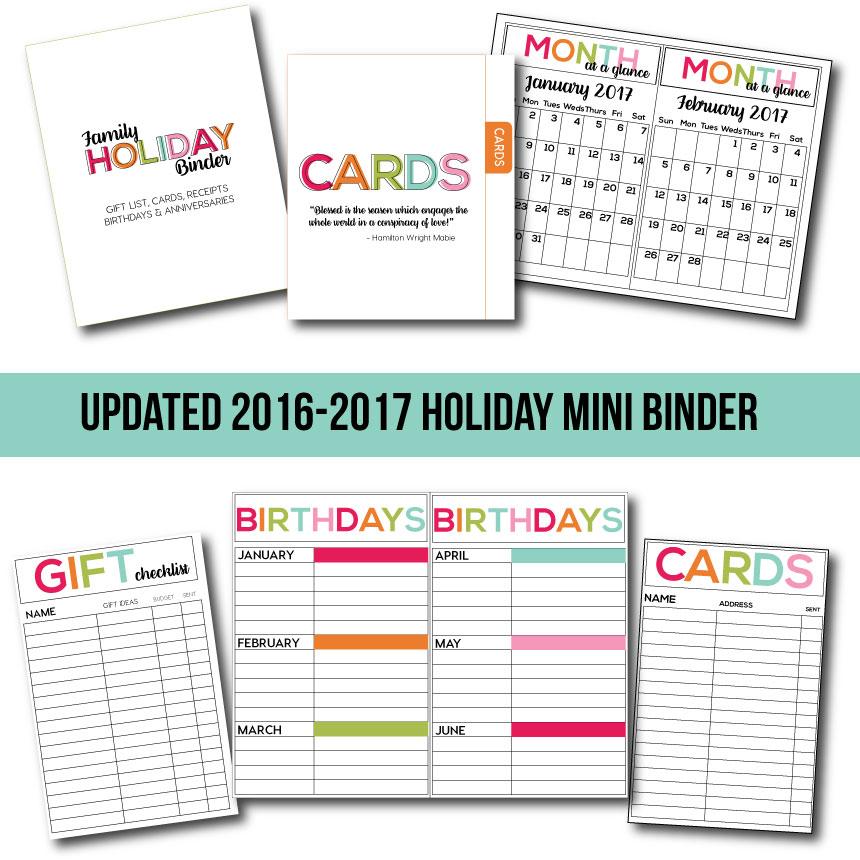 Holidays: Updated 2016-2017 Mini Holiday Binder from Thirty Handmade Days