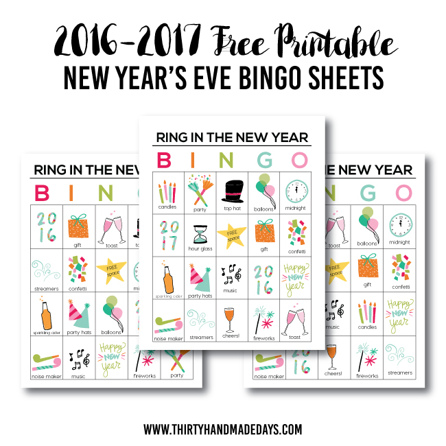 Holidays: Printable New Year's Eve BINGO Sheets! Help ring in the new year with these fun printables. www.thirtyhandmadedays.com