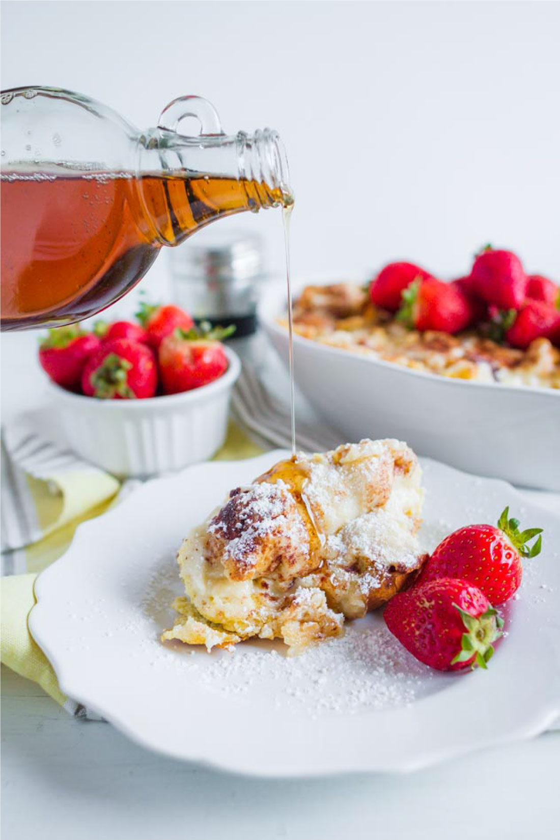 Yum! This French Toast Souffle is such a treat for breakfast in the morning. You make it ahead and then indulge the morning of. www.thirtyhandmadedays.com