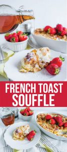 Yum! This French Toast Souffle is such a treat for breakfast in the morning. You make it ahead and then indulge the morning of.