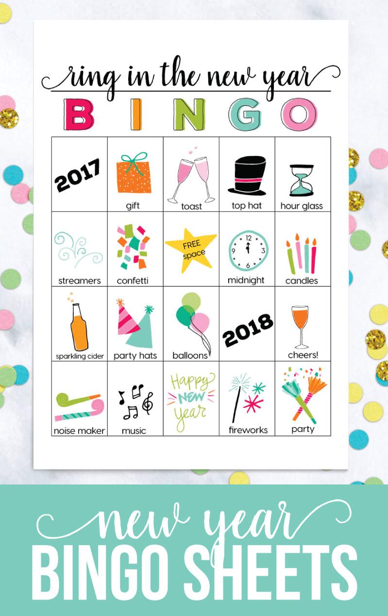 BINGO New Year Printable - download these printable files to play BINGO on New Year's Eve from www.thirtyhandmadedays.com