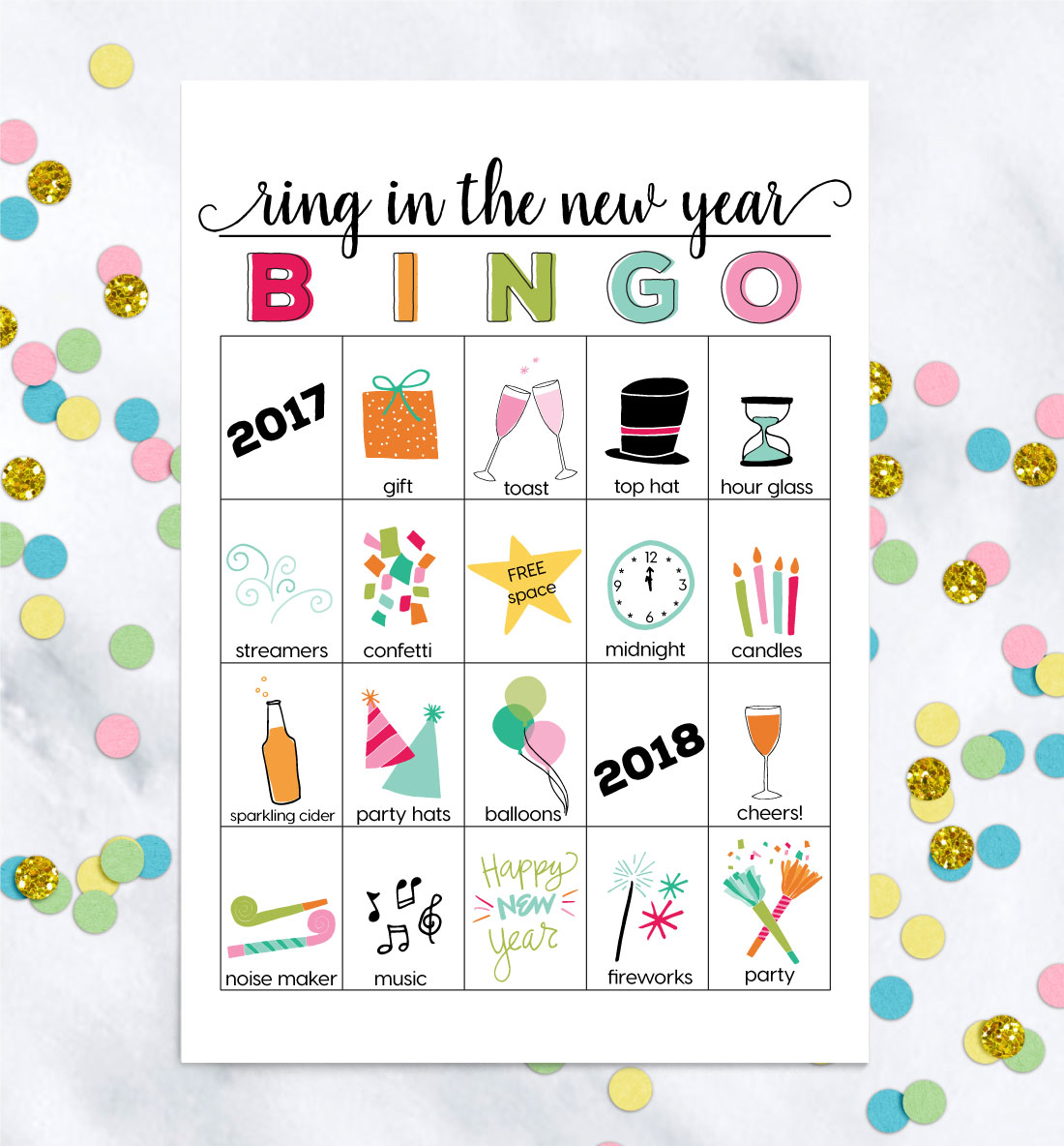 Printable New Years Eve Bingo Sheets