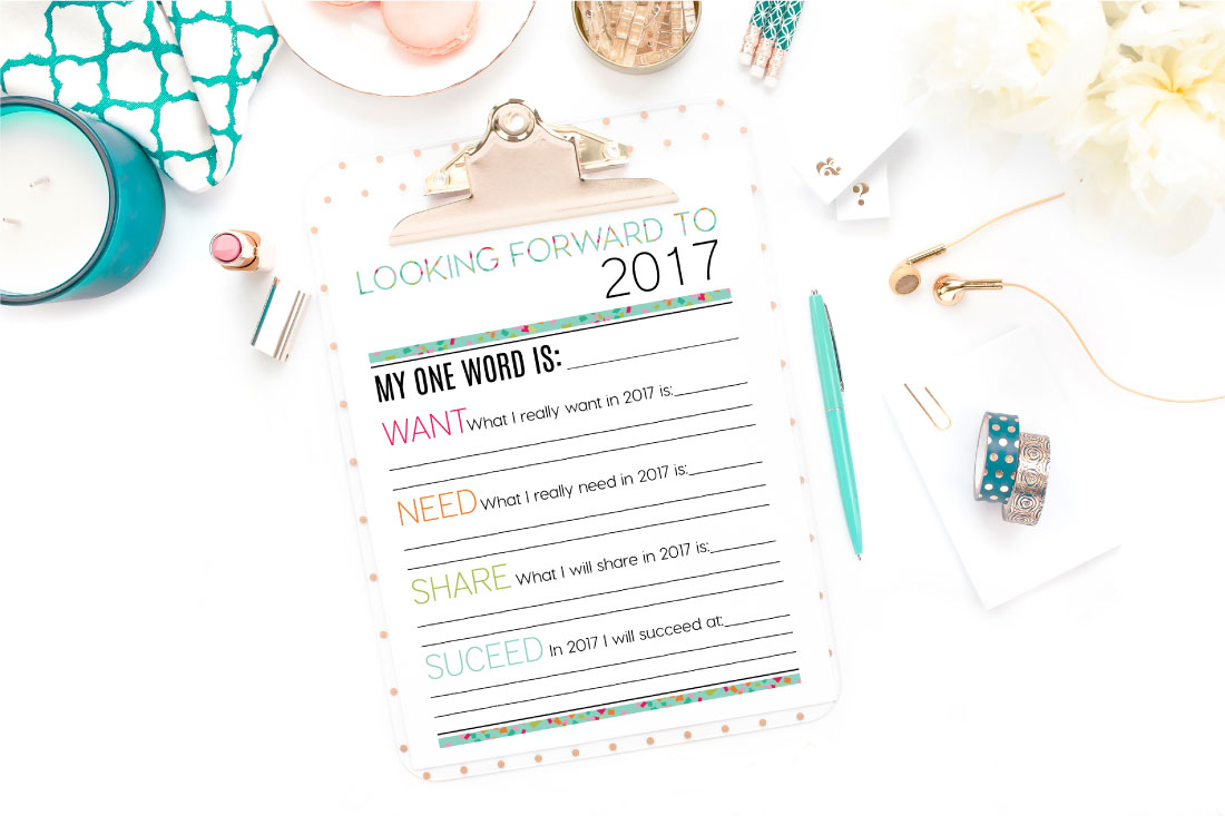 Holidays: Looking Forward to 2017 - New Year's Eve Resolutions Printable from www.thirtyhandmadedays.com