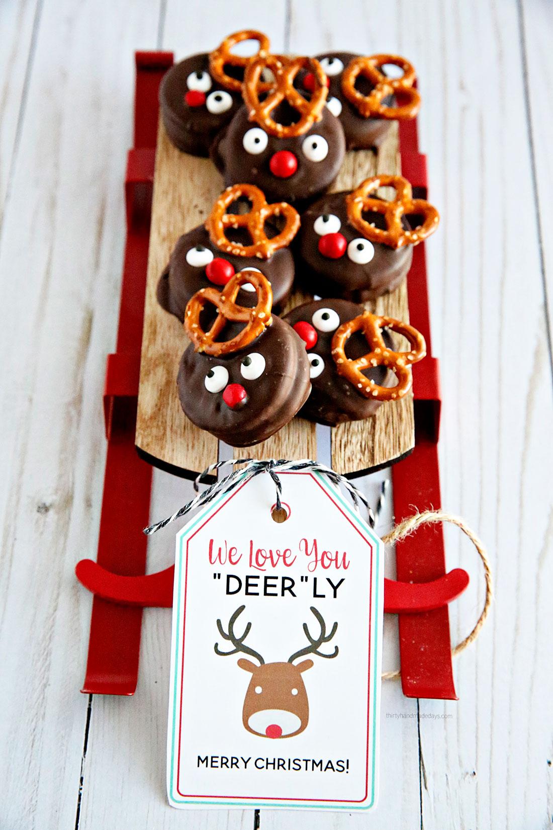 Printable Reindeer Tags for Reindeer Treats from thirtyhandmadedays.com