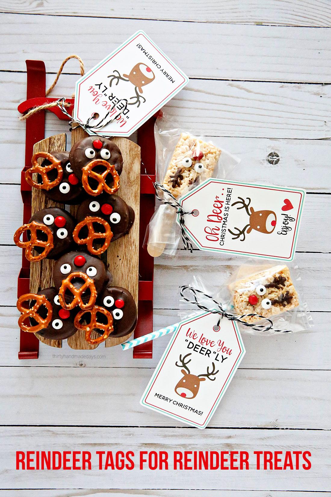 Printable Reindeer Tags for Reindeer Treats from www.thirtyhandmadedays.com