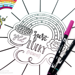 Download this cute and FREE Printable St.Patrick's Day Rainbow Coloring Page as a fun activity for you and your children!