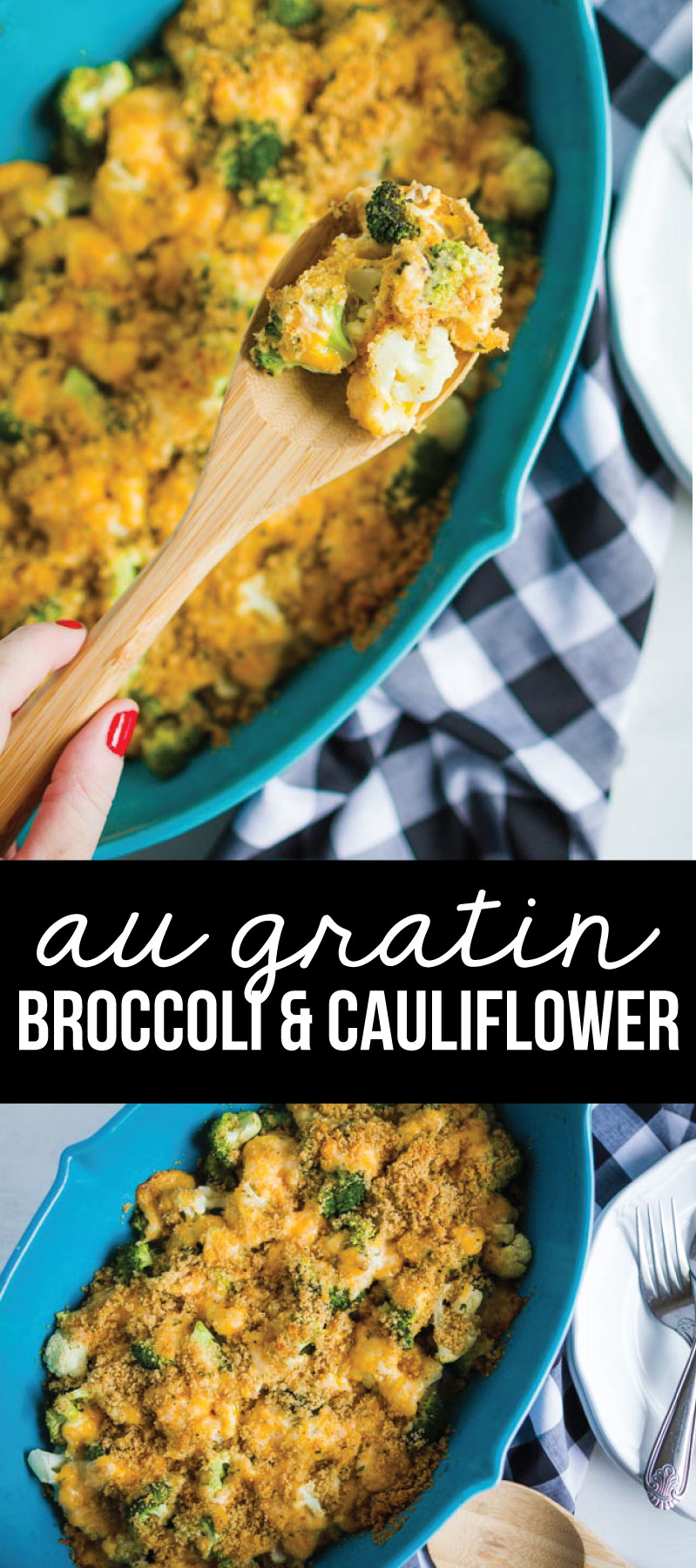 Food: Au Gratin Broccoli and Cauliflower - make this delicious side dish to go with any dinner! www.thirtyhandmadedays.com