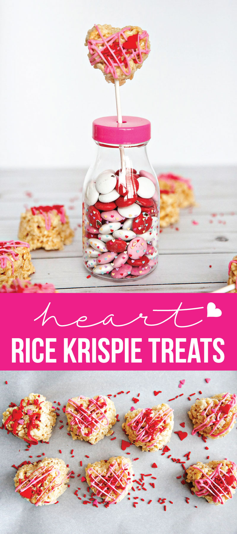 Food: Heart Rice Krispie Treats! Perfect for Valentine's Day - these yummy and cute treats will hit the spot! via www.thirtyhandmadedays.com