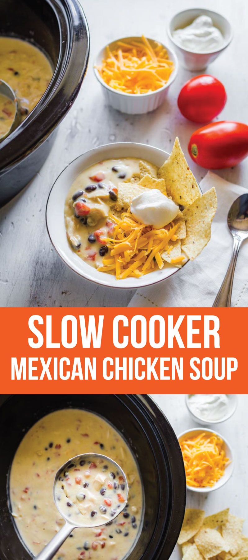Food: Slow Cooker Mexican Chicken Soup - an easy to throw together soup in the crockpot. Yum!