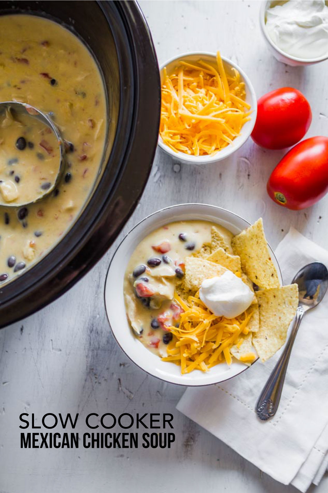 Food: Slow Cooker Mexican Chicken Soup - an easy to throw together soup in the crockpot. Yum! www.thirtyhandmadedays.com