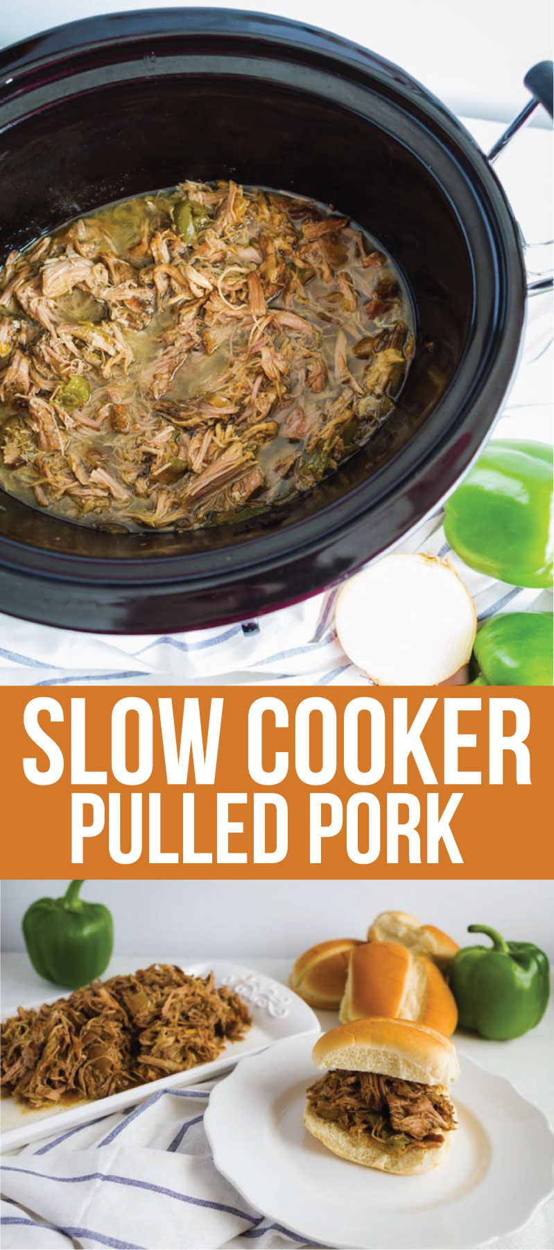 Food: Slow Cooker Pulled Pork - make this super easy dinner recipe and use it in a variety of ways! One of our favorites is on rolls with cream cheese. From www.thirtyhandmadedays.com