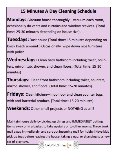 Minute A Day Cleaning Schedule