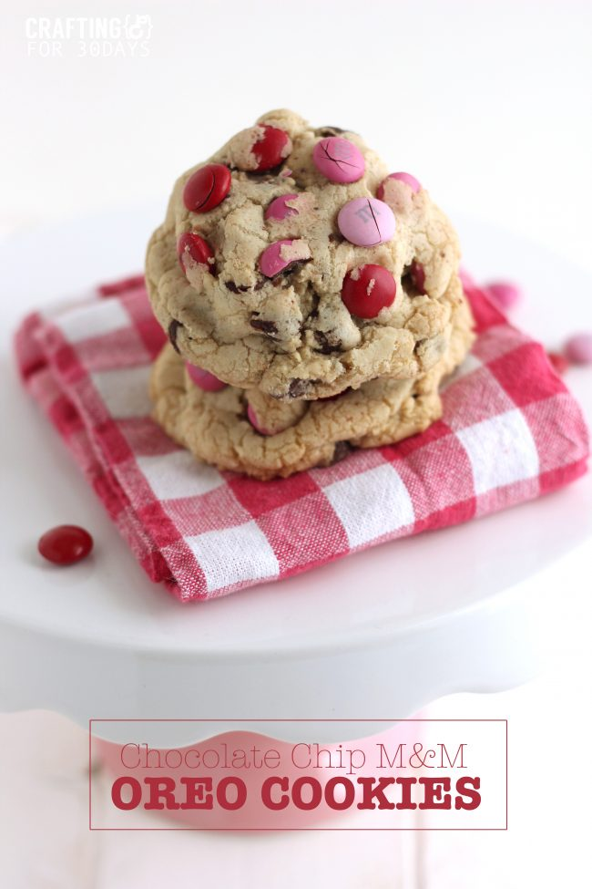 These Chocolate Chip M&M Oreo Stuffed Cookies are so delicious and different than any other desert. From CraftingE via www.thirtyhandmadedays.com