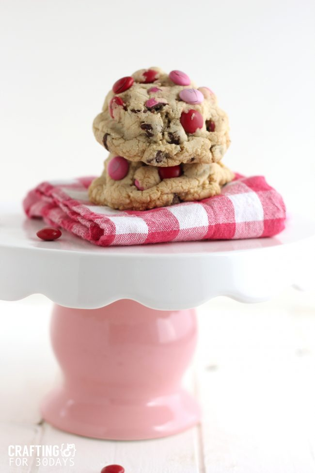 These Chocolate Chip M&M Oreo Stuffed Cookies are so delicious and different than any other desert. Can be changed for any special occasion. From CraftingE from thirtyhandmadedays.com