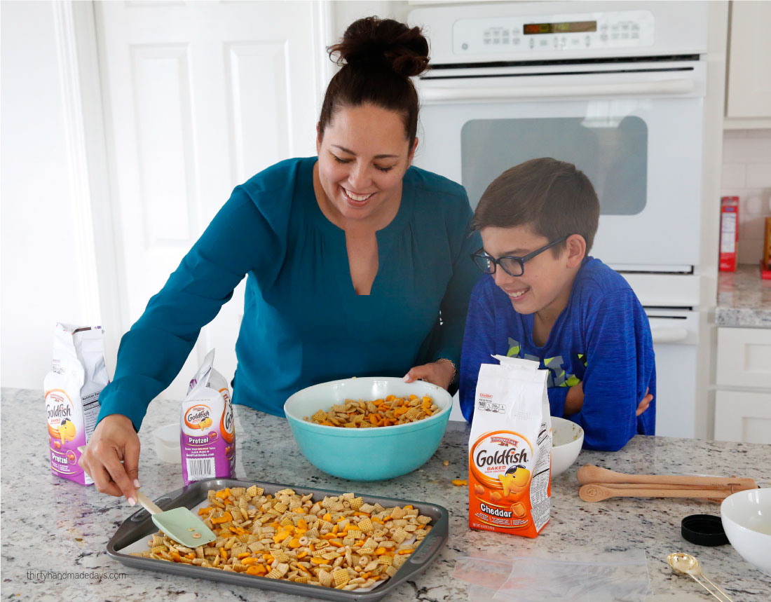 Mom and Drew in the Kitchen making Zesty Ranch Goldfish Mix www.thirtyhandmadedays.com